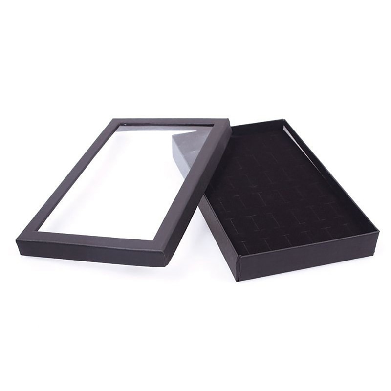 36 ranuras caja de joyería pendientes de almacenamiento caja de exhibición soporte organizador de joyas transparente ventana Show Case negro