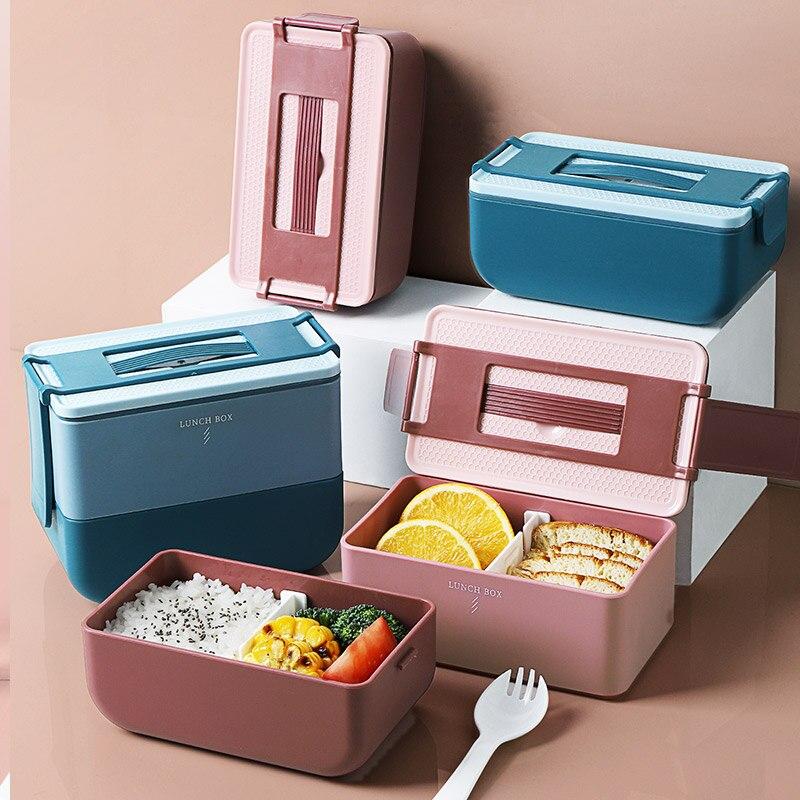Caixa de almoço criativa microondas bento caixa recipientes de armazenamento de alimentos almoço piquenique leakproof 800 ml 1600 ml