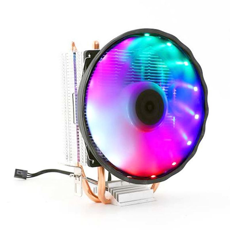 Double Copper Pipe CPU Cooler Silent Radiator RGB LED Colorful Light Heatsink Cooling Fan Desktop Computer Accessories