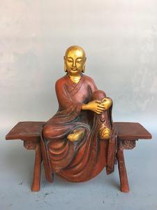 Свадебные украшения Китай Богатство Благоприятный позолоченной латуни скамья статуя Будды сидя на статуя на скамейке