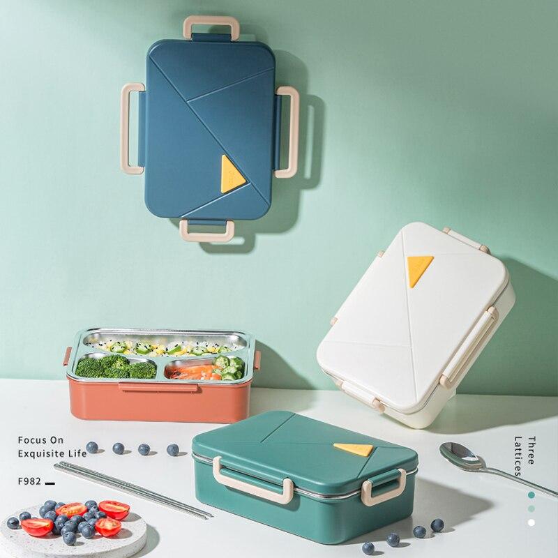 صندوق غداء للفتاة الصغيرة ، صندوق غداء من الفولاذ المقاوم للصدأ قابل للاستخدام في الميكروويف ، أدوات مائدة يابانية DE50FH