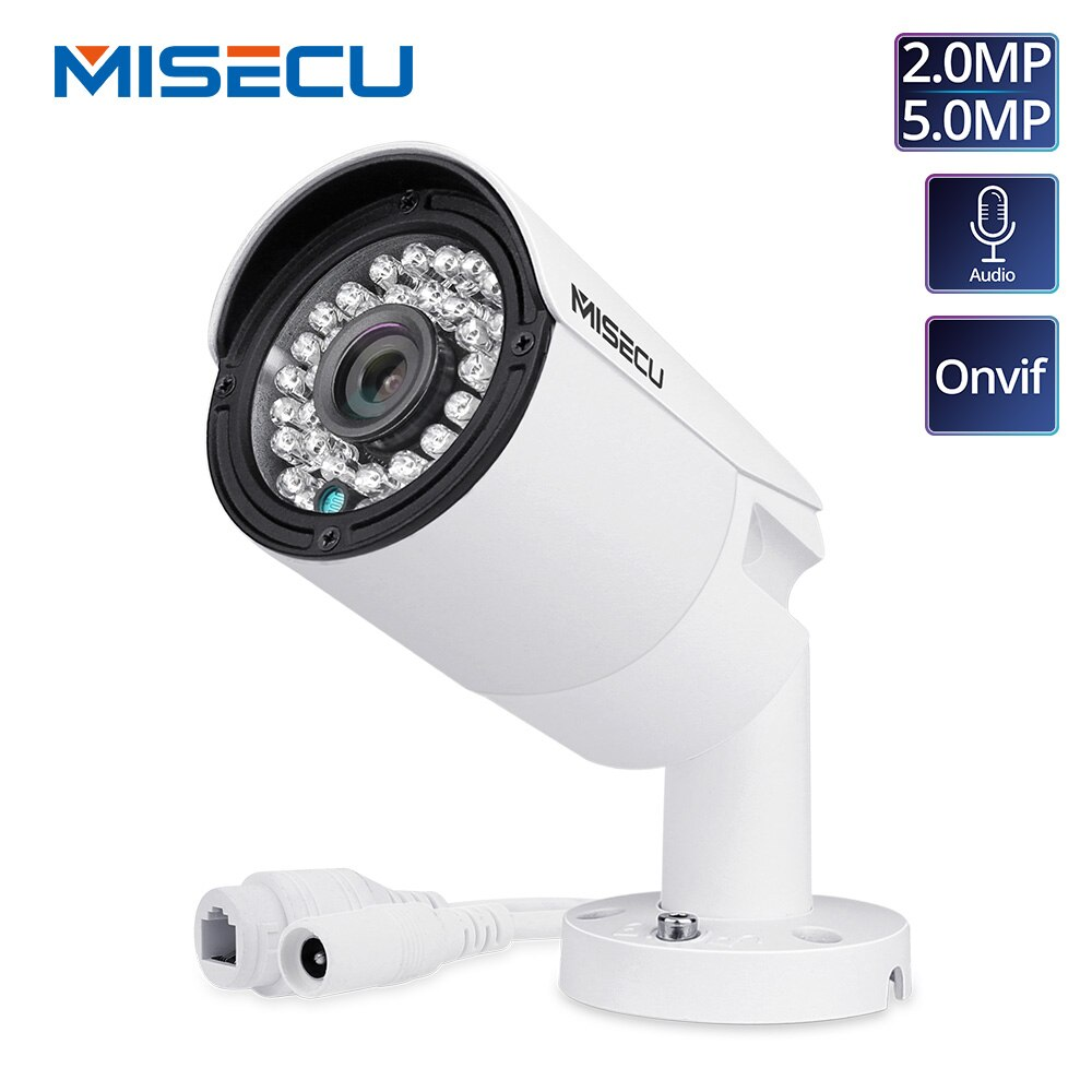 Misecu h.265 completa hd 2mp 5mp câmera de segurança áudio ip 1080 p metal à prova dwaterproof água poe onvif bala cctv ao ar livre câmera de vigilância