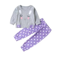 girls long sleeve printing suit cotton cartoon round neck top purple white dot casual pants comfortable two piece set