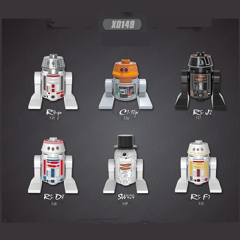 Bloques de construcción Yoda Baby Space Wars R2D2 BB8 Space RSF7 RSD8 Mandalorian Jango Fett Drabatan figuras juguetes para niños X0149