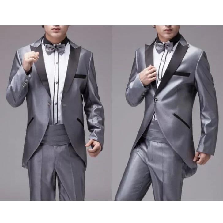 Guapo traje para padrinos de boda esmoquin de solapa para novio para hombre vestido de boda hombre chaqueta Blazer Prom cena (chaqueta + Pantalones + corbata) A091