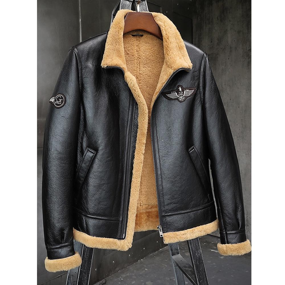 2019 New Mens Black B3 Shearling Jacket Thicken Sheepskin Coat Winter Fur Coat Mens Leather Jacket Motorcycle Jacket