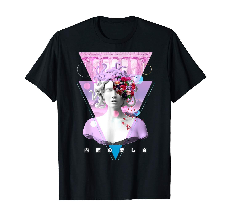 Vaporwave estatua de Medusa arte estético Retro japonés Otaku camiseta