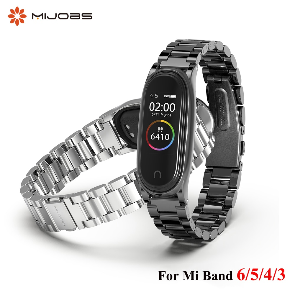 Metal Strap for Xiaomi Mi Band 6 5 4 3 Stainless Bracelet on Mi Band 4 Correa Miband Xiomi Bend Xaomi Wristband Accessories NFC