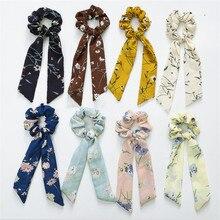 Mode mousseline de soie banderoles queue de cheval gland cheveux anneau ruban femmes cheveux corde arc cheveux accessoires attachés cheveux Style outil