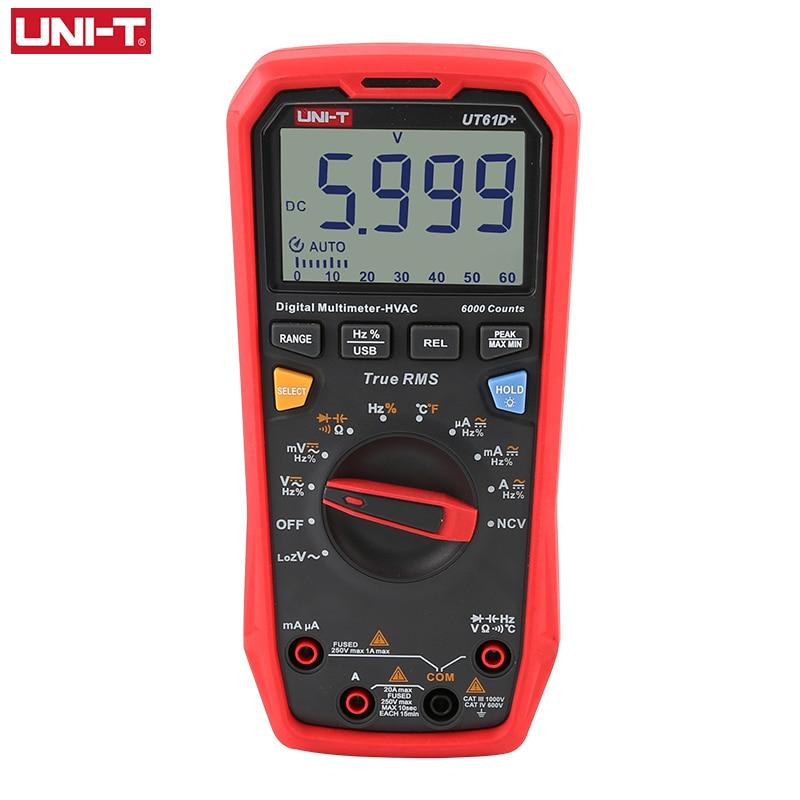 UNI-T UT61D + رقمي متعدد المهنية اختبار وحدة صحيح RMS السيارات تتراوح DC AC 1000V الذروة عقد السعة اختبار 60mF متر