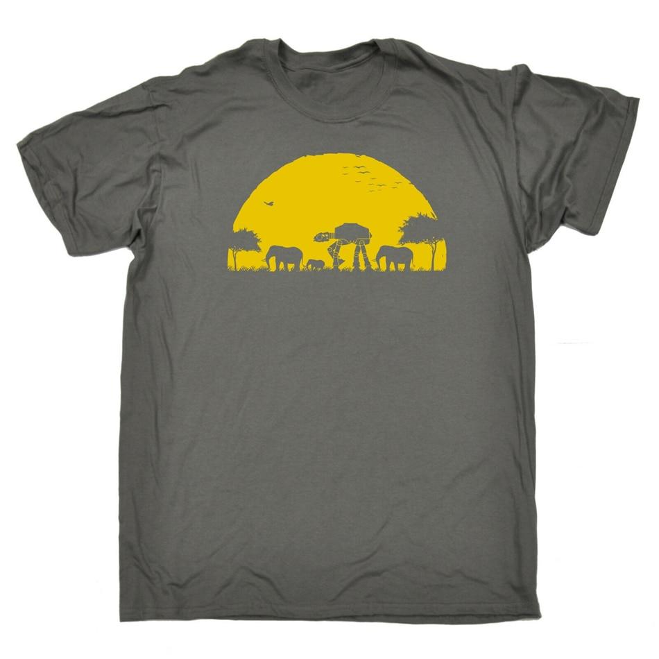 Elefante Atat camiseta de puesta de sol Geek Humor Sci Fi Safari Nerd regalo cumpleaños divertido Harajuku Tops moda clásica camiseta