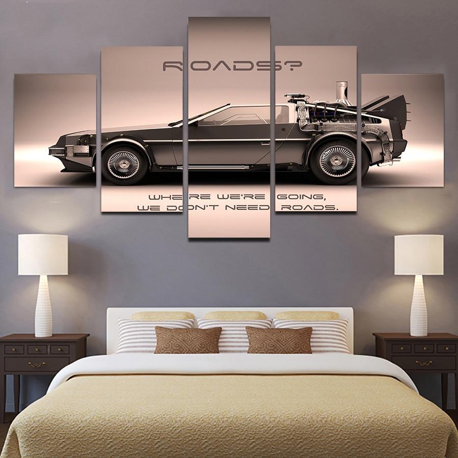 Volver al futuro póster Vintage Super coche impresiones 5 piezas lienzo pintura Modular coche cuadros para niños dormitorio pared regalos de arte