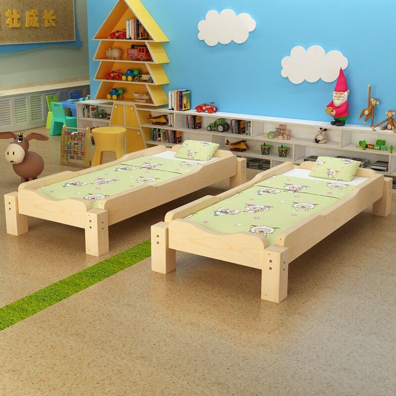 Guardería hogar niños cama niños muebles cama de siesta madera sólida niños protector de cama extraíble WJ021650