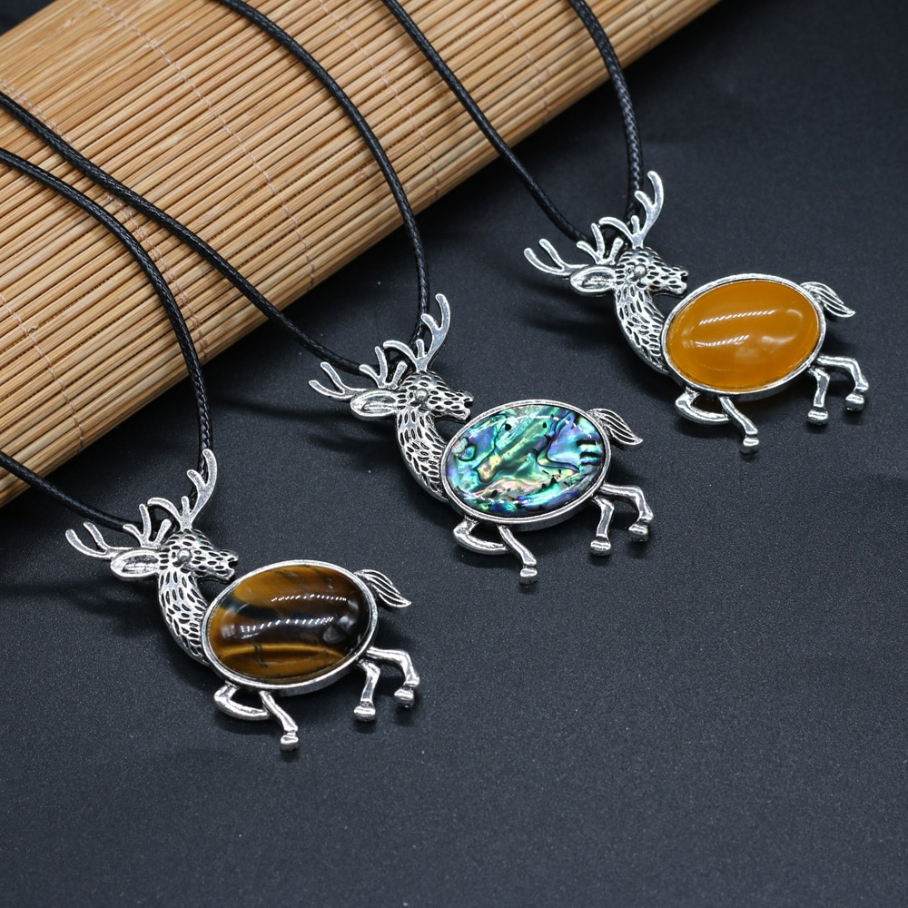 Trendy Animal Deer Pendant Natural Rose Quartzs Tiger Eye Stone Charm Punk Rope Chain Healing Choker Necklaces for Women Jewelry  - buy with discount