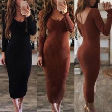 Sexy femmes robe hiver 2020 pull en tricot à manches longues col en V dos nu côtelé moulante mince tricoté robe Midi robe pull