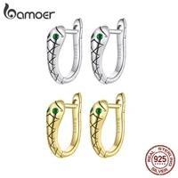 bamoer genuine 925 sterling silver snake earrings platinum plated tarnish resistant green cz hoop earrings for women gxe1104