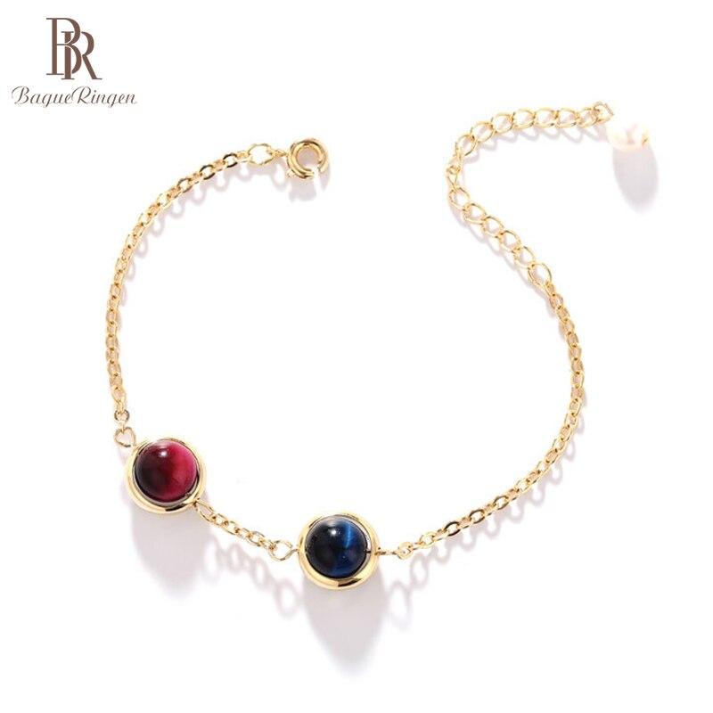 Женский браслет с натуральным кристаллом Bague Ringen, классические серебряные ювелирные изделия 925 пробы, круглые драгоценные камни, Клубничные...