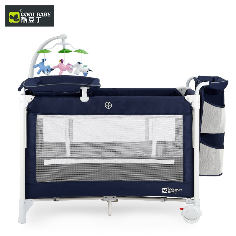 Cool Baby Crib Multi-function Folding Portable Baby Bed Cradle Bed Movable Baby Stitching Bed