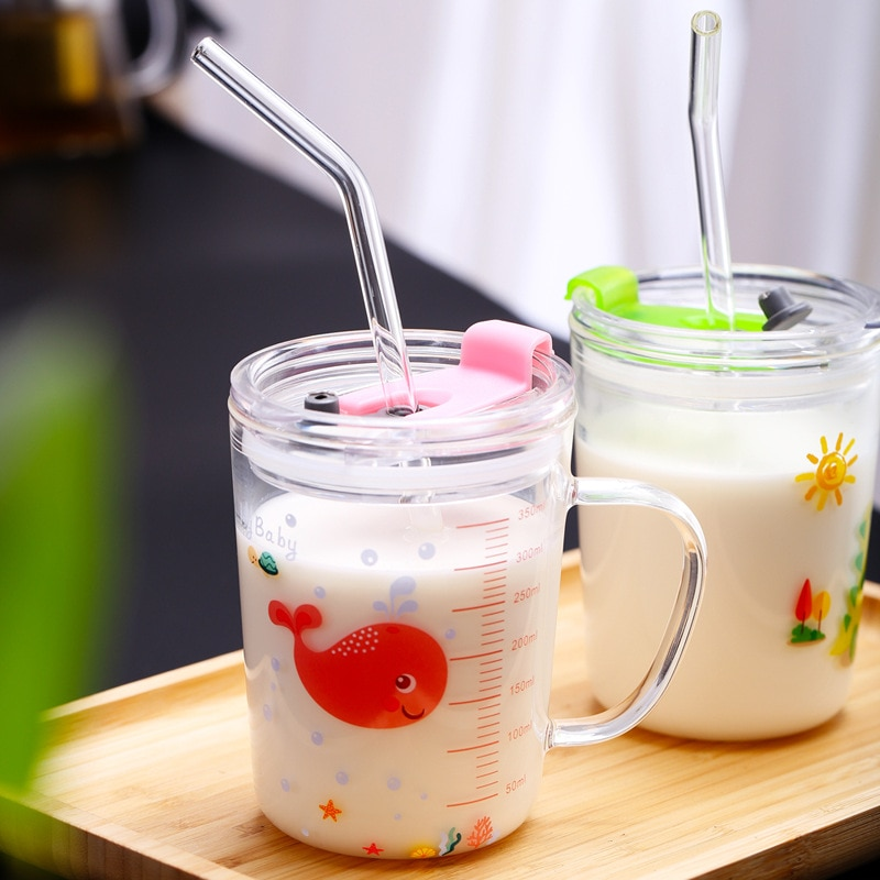 Taza de leche de dibujo animado bonito de 350ml, taza de cristal con diseño de ballena dinosaurio, taza de desayuno para niños, taza sippy multipropósito con tapa y pajita