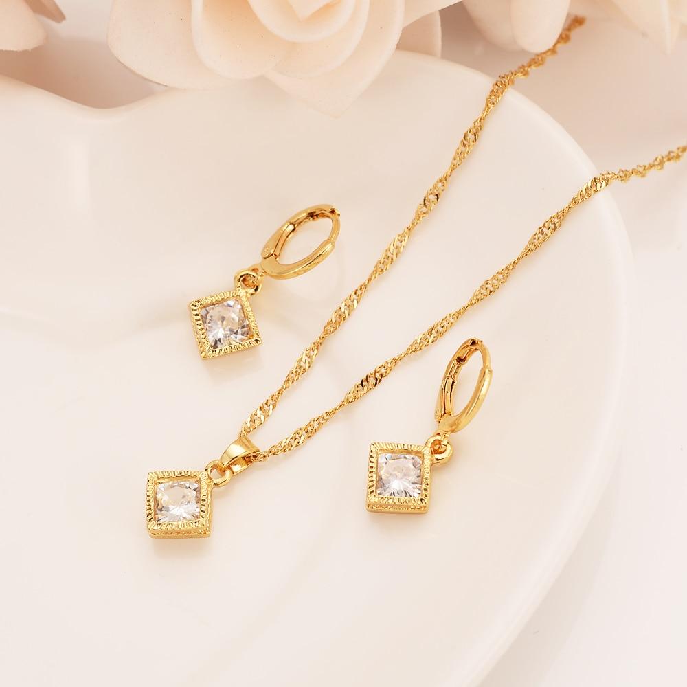 Oro cuadrado geometría rábano bisel diamante conjunto mujer/chica collar pendientes conjunto boda joyería nupcial vacaciones cumpleaños regalos