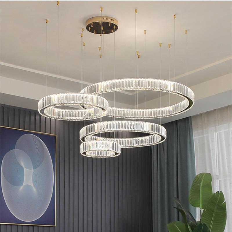 Современная роскошная хрустальная светодиодная Подвесная лампа, приглушаемая стальная Люстра для виллы, лестницы, фойе, подвесные светиль...
