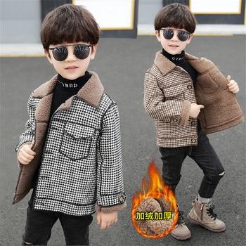 2020 высокое качество, дети, пальто Шерстяное пальто для мальчиков; Модная осенне-зимняя куртка для мальчика в клетку, теплое детское зимнее пальто От 2 до 10 лет