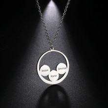 Sipuris Customized Multi-Name Necklace For Family Personalized Stainless Steel Name Necklace Fashion