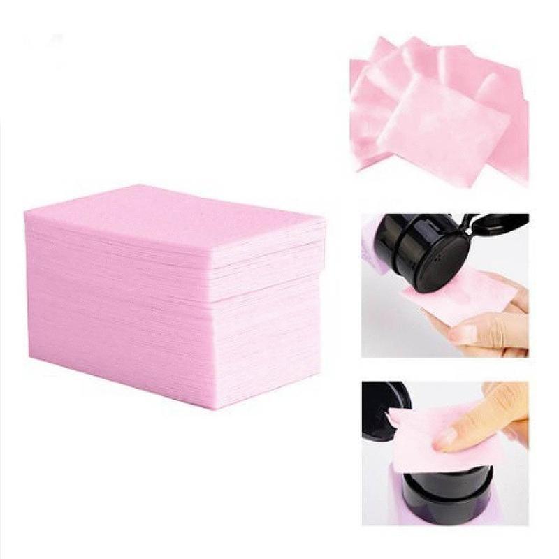 100 pçs unha polonês removedor de algodão para as fêmeas manicure lavagem portátil sem fiapos toalhetes guardanapos ferramentas de limpeza removedor almofadas