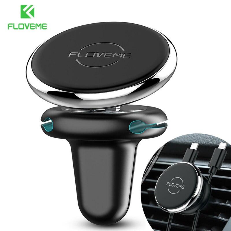 FLOVEME Новый универсальный магнитный автомобильный держатель для телефона с вентиляционным отверстием на выходе с зажимом для кабеля автомобильный держатель магнитный держатель для телефона InCar