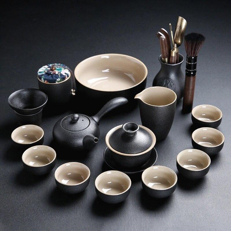 【الأحمر forest】 مجموعة كاملة طقم شاي السيراميك الكونغ فو فنجان الشاي التخصيص اليدوي مغطاة الشاي وإبريق الشاي