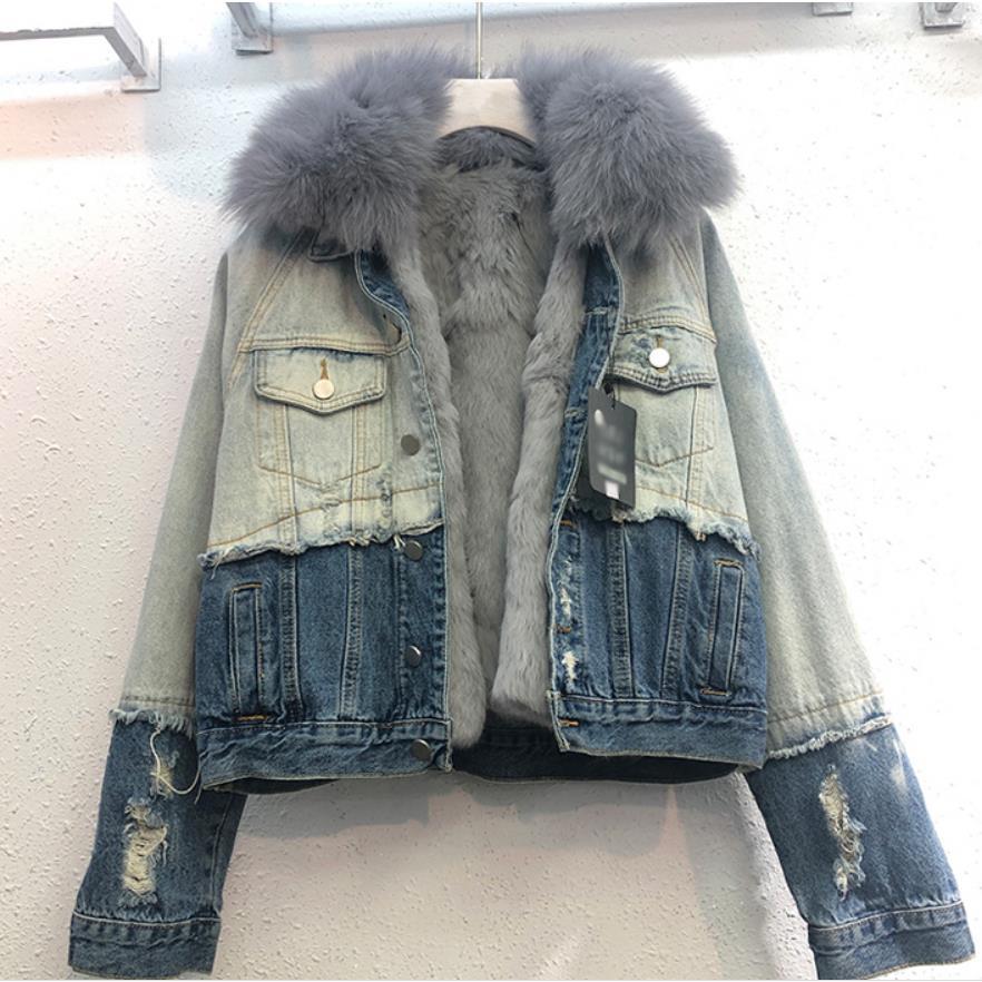 Echten pelzmantel Mode Warme Echt Fuchs Pelz mantel + Echt Kaninchen Haar Liner Denim Jacke Weibliche sicken Dicken Echt pelz jacke F1736