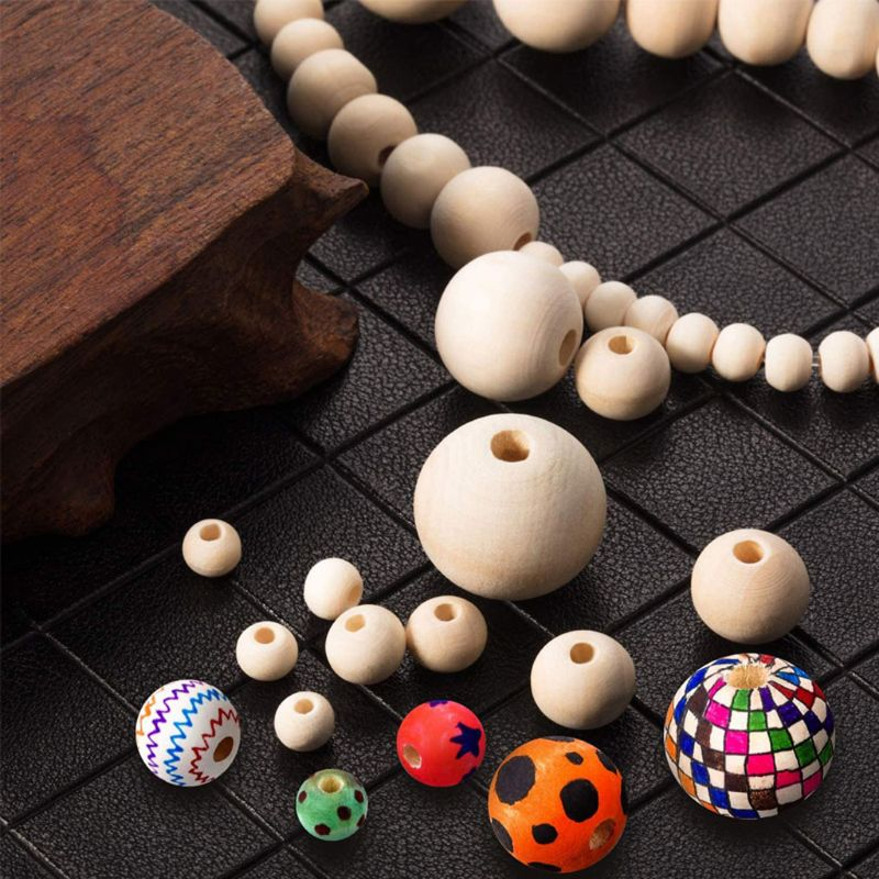 1105Pcs 6 Sizes Wooden Beads Natural Round Wood Beads Kit Jewelry Craft Making 87HC