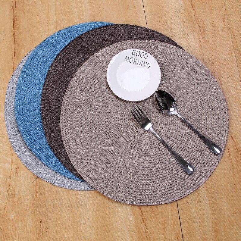 INS круглые тканые PP салфетки, водонепроницаемые коврики для обеденного стола, нескользящая посуда, чашки для напитков, подставки для кухни, ...