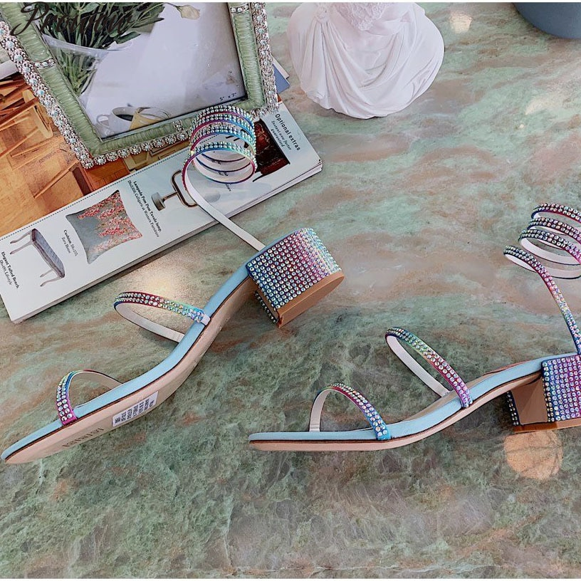 Prowow Gladiator Sandals Rhinestone Decor Women Sandals Sexy Shoes Woman Heels Summer Party Colourful Women Sandals