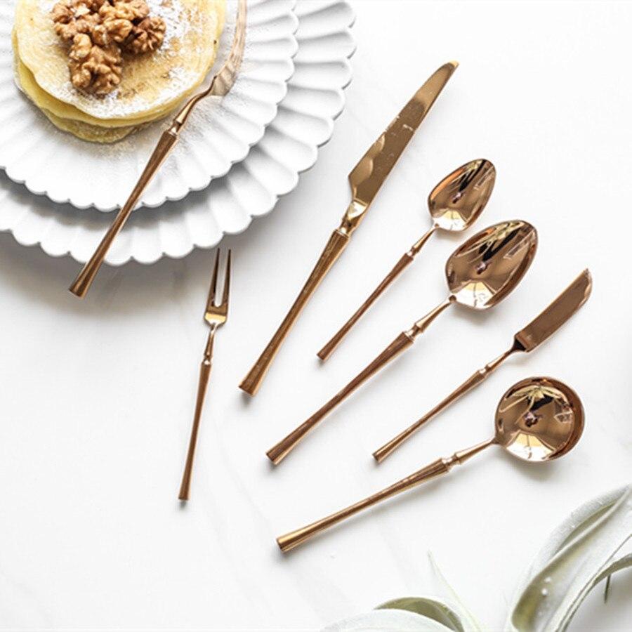 Conjunto de utensílios de mesa luxo em aço inoxidável europeu ouro rosa garfo colher faca presente conjunto jantar faqueiro acessórios cozinha dx50