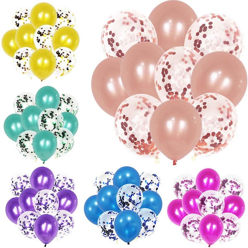 10pcs 12inch Multi Rose Gold Confetti Balloons Baby Shower Home Wedding Birthday Valentines Day Decoration Anniversary Globos