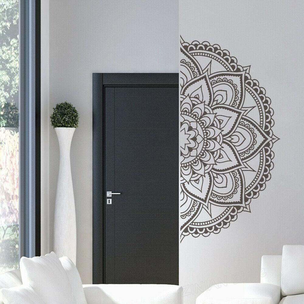 Flor de loto medio calcomanías para pared mandala vinilo estilo bohemio sala de estar mesita de noche decoración pegatina extraíble decoración del hogar Mural Z504
