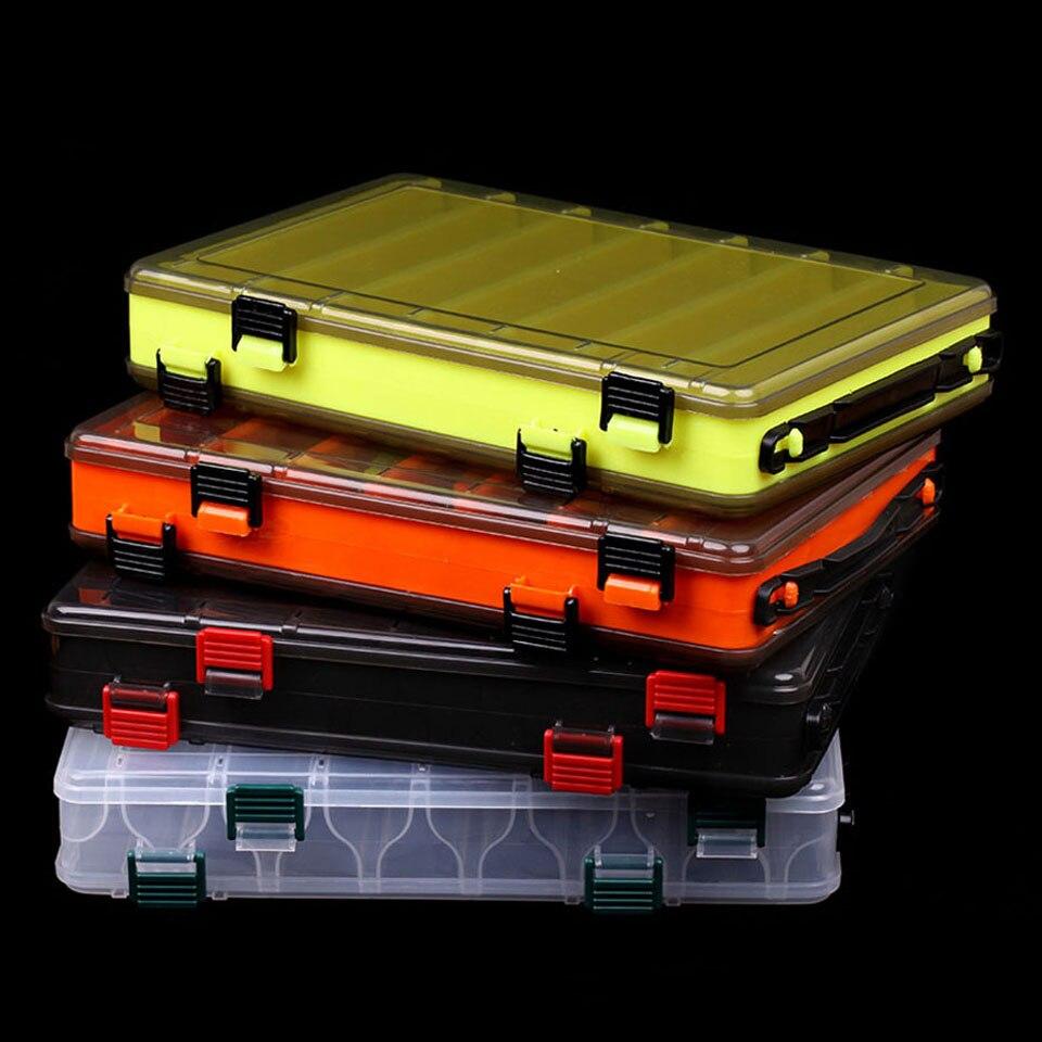 Marche poisson boîte de pêche pour appâts Double face en plastique boîtes à leurre mouche pêche attirail boîte de rangement fournitures accessoire haute résistance