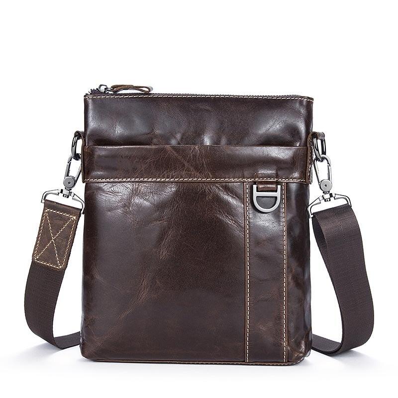 2019 de marca de cuero genuino bolsos de hombro de los hombres del diseñador bolsa cruzada Piel de vaca natural bolsas de hombro Vintage pequeño bolsa cuadrada Ha