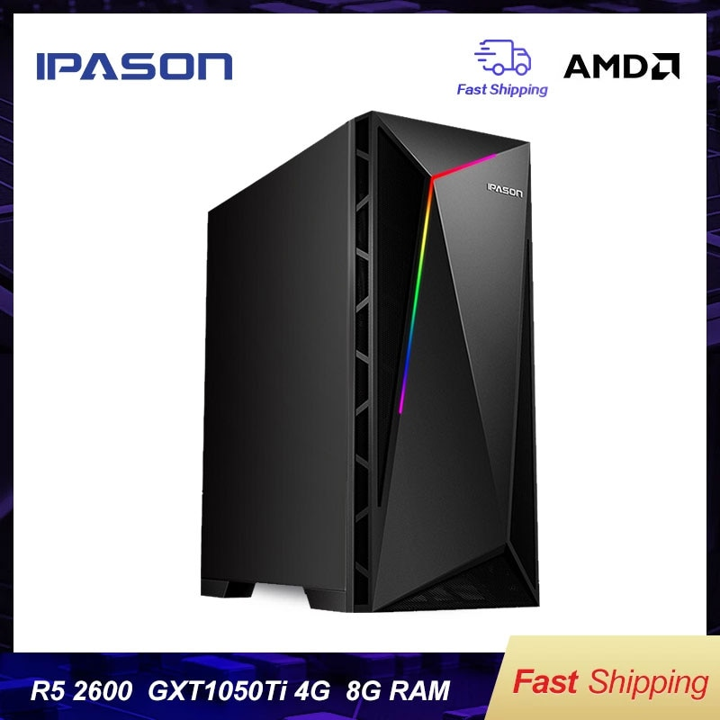 IPASON VGAME Gaming Desktop Computer AMD R5 2600 1050TI 4G Random Delivery/RX580 4G/RX560 High-Frequency RAM/240G SSD Gaming PC
