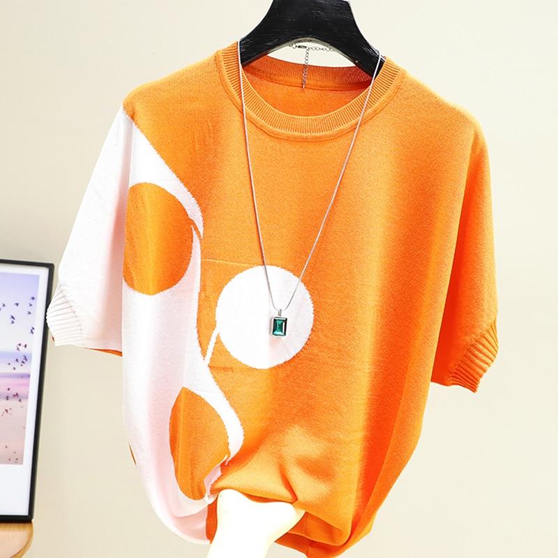 shintimes Knitted Hit Color T-Shirt Korean Style Tops Tshirt Woman Loose Short Sleeve T Shirts Women Tee Shirt Femme Summer 2020