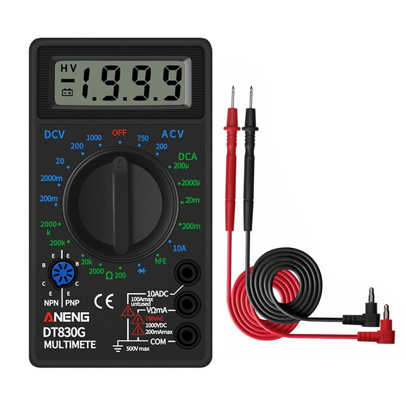 DT830G Mini multimètre numérique Portable ca/cc Test tension courant ohmmètre compteurs de puissance testeur Portable