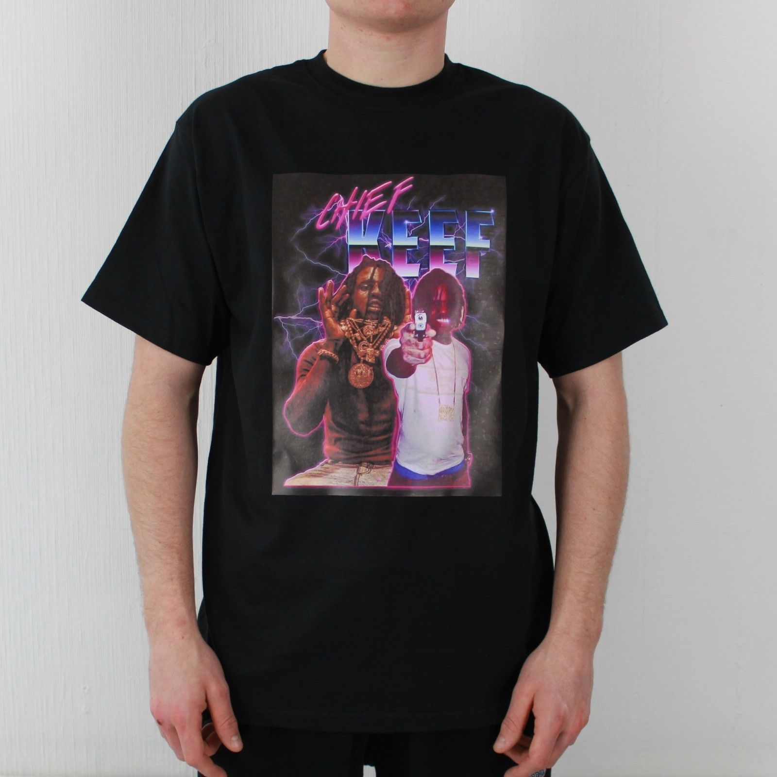 Chief Keef Sosa Purple Reign camiseta negra Trap Hip Hop Vintage cómoda camiseta pantalón corto Casual manga estampado camiseta