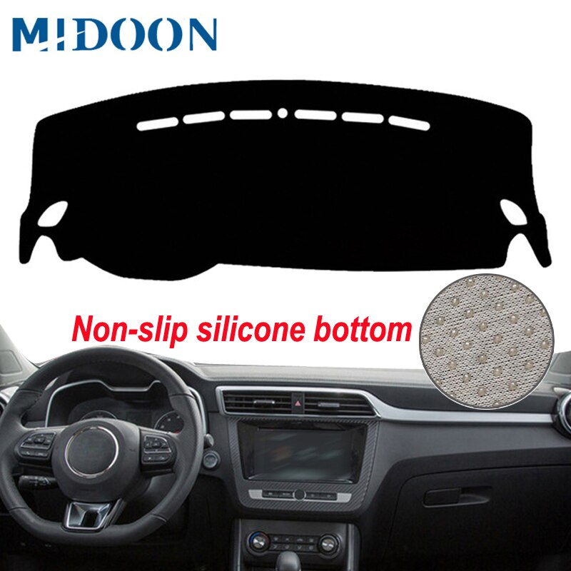MIDOON, cubierta de salpicadero de coche, alfombra antideslizante de silicona Anti-UV para MG ZS Dash Mat Dash Pad Sun Shade DashMat, Protector de estilo de coche