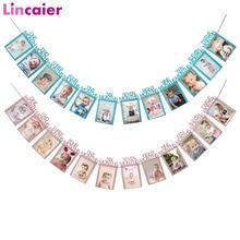 Lincaier premier anniversaire 12 mois cadre Photo bannière 1st bébé garçon fille décorations mon 1 an fête fournitures