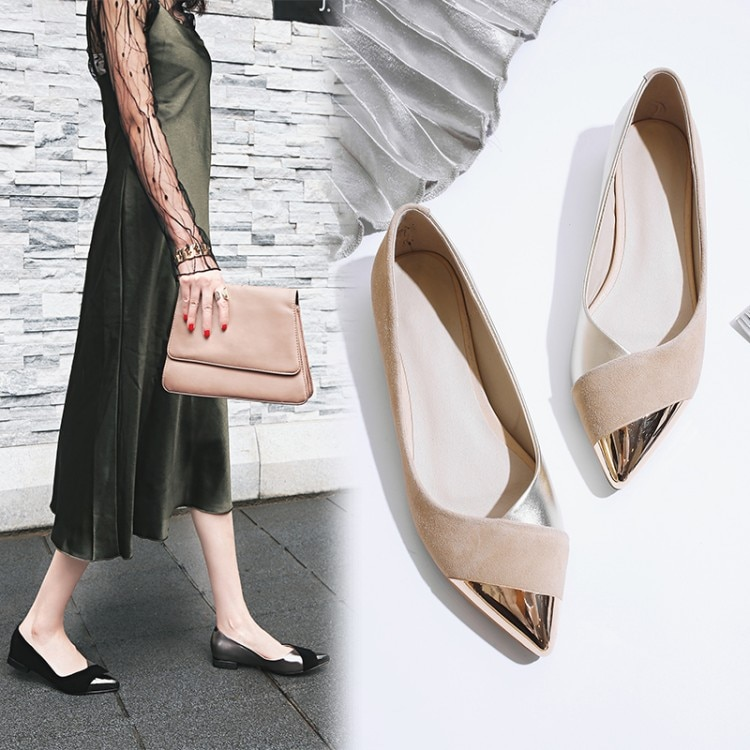 Ins bombas femininas quentes couro genuíno 22-25.5cm camurça ovelha costurado ponta de metal internet celebridade sapatos mulher salto de metal