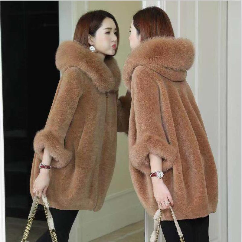 Large Size Fox Fur Collar Fur Coat Women Winter 2020 New Winter Women Fur Jacket Long Slim Thickeing Warm Cashmere Coat Woman