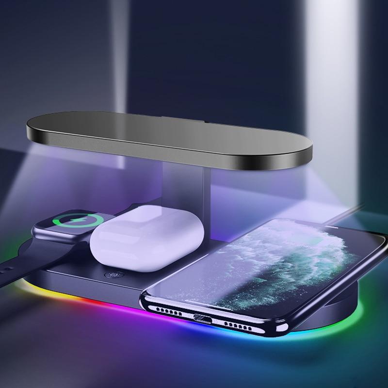 Cargador inalámbrico Qi de 15W para Iphone XS 7 8 11 Plus, cargador rápido Apple Watch 5 4 Airpods UV, esterilización, soporte de luz LED fluible