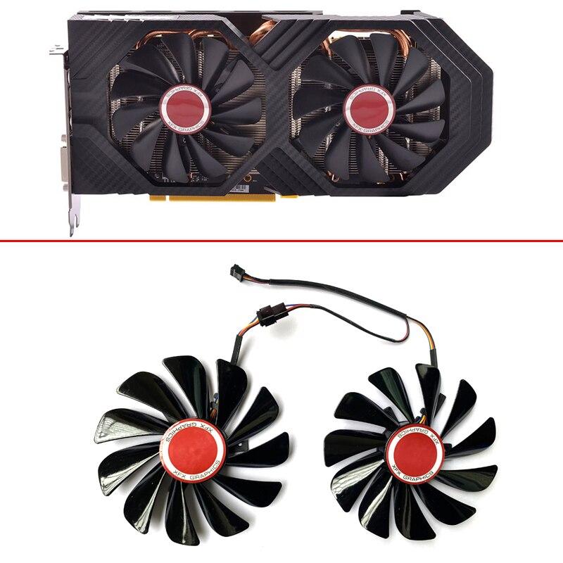 Original NEW 2PCS 95MM RX580 FDC10U12S9-C CF1010U12S 4PIN Cooling Fan For XFX RX580 4GB GPU Cooler Fan HIS RX590 580 570 Fans