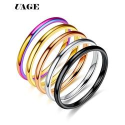 Uage simples fino titânio aço ouro prata cor preta anti-alergia suave casal anel de casamento feminino moda masculina jóias